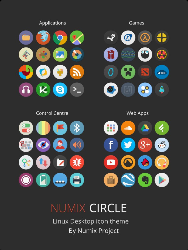 Numix-Circle Icon Theme for Ubuntu 16.04 LTS Xenial Xerus